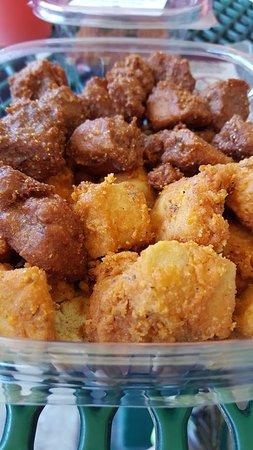 Wheatsville Deli: Popcorn tofu: original and buffalo