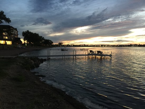 Near sunset at the beach and dock area on Lake Bemidji behind the Doubletree.