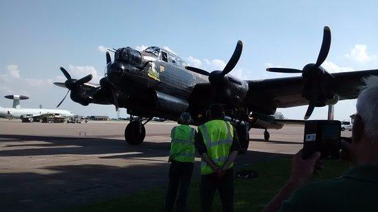 Coningsby, UK: Lancaster bomber just landed after training