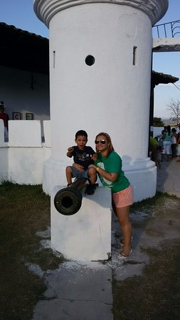 Gracias, Honduras: Emilio imagining he was gonna fire the canon! BOOM!!!!