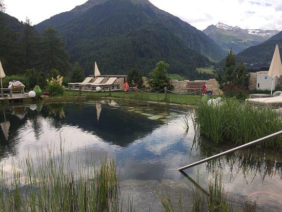 Alpengasthof Grüner: Blick auf den Badesee im Hotelgartengelände