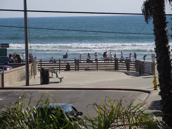 Oceano, CA: View of sitting area above Pismo Beach and ocean.