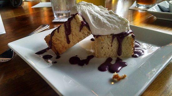 Motor Supply Co. Bistro : Pound Cake with Blueberry Sauce and fresh Whipped Cream
