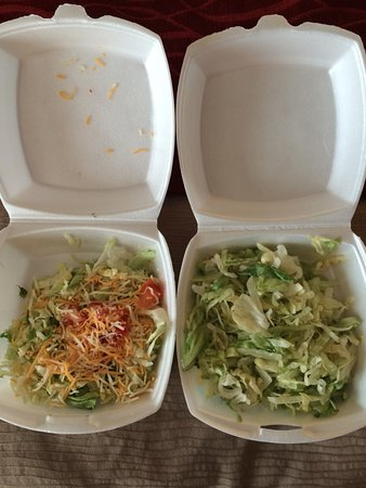 "Rawlins, WY: Here are $5 ""house salads"" from Buck's. We swore they got this from the Subway next door."