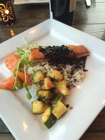 Promenade Cafe and Wine : Grilled salmon with Saskatoon berry sauce
