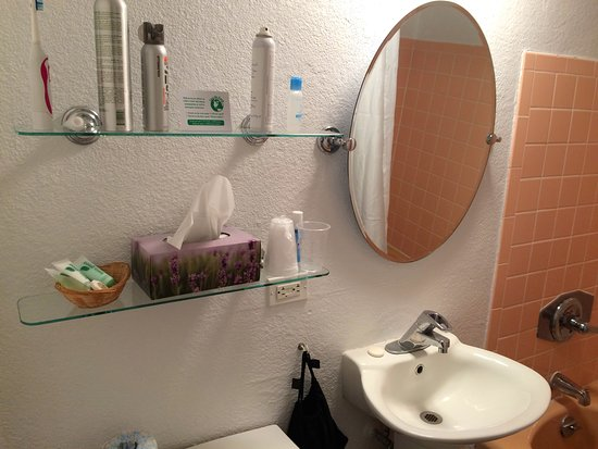 "Ship-N-Shore Hotel: Tiny bathroom; glass shelves for your own ""products""."