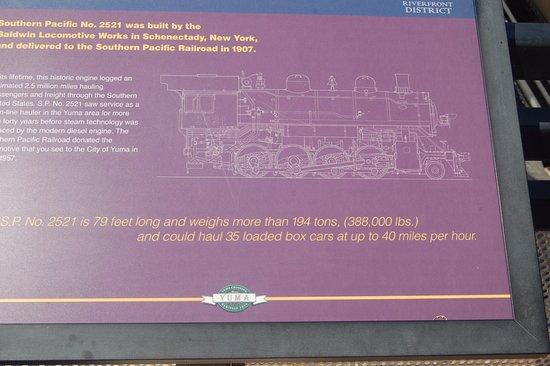 Yuma, AZ: sign about the locomotive