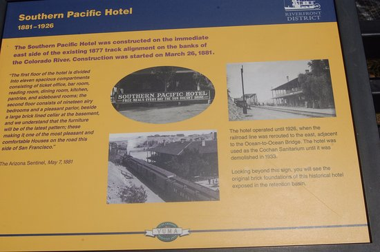 Yuma, AZ: sign about the old hotel