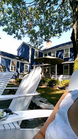 Bristol, RI: relaxing in the backyard