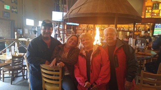 Healy, AK: The circle fireplace bar. Nice!