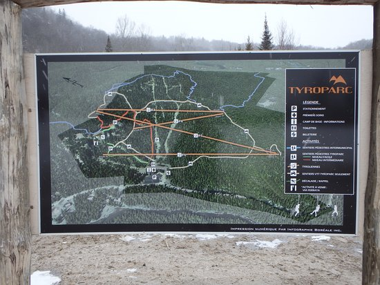 Sainte Agathe des Monts, Canada: The map of the whole parc, a range of activities on offer.