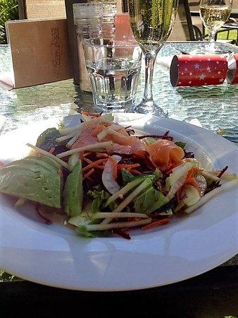 Pomodoras on Obi: The salmon and avocado salad entree