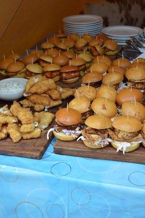 Lapworth, UK: Teepee Party: Panko Breaded Fish, Cajun Chicken Sliders and Haloumi and Salsa Sliders