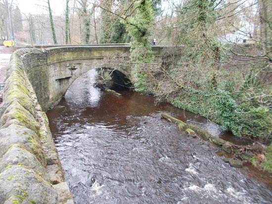 Rivelin Valley Nature Trail: Early pack bridge with mill race to right.