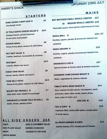 Sample Menu From Our Visit  Picture Of HarryS Shack Portstewart
