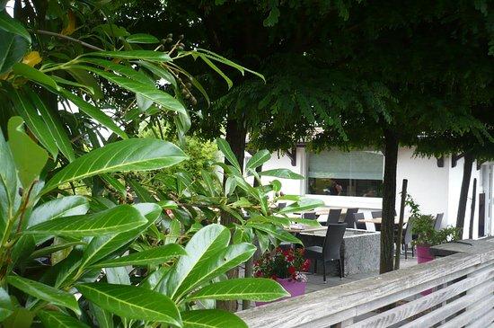 Soultz, Frankreich: une terrasse ombragée avec une végétation luxuriante