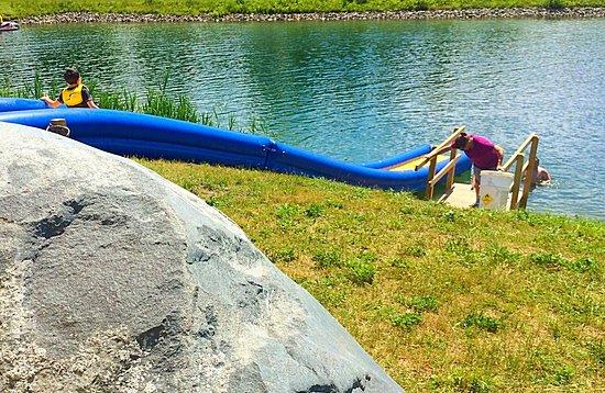 Jeffersonville, VT: Water slide at Bootleggers