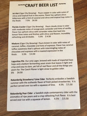 Cortez, FL: Beer List