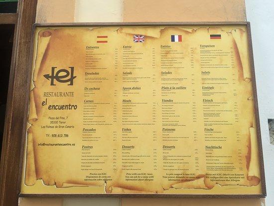 Teror, España: Carta del restaurante.