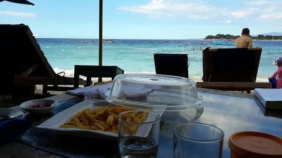 Villa Almarik Resort Lombok: The Beach In Front of Villa, Villa Almarik Gate and Its Cafe Beside The Beach