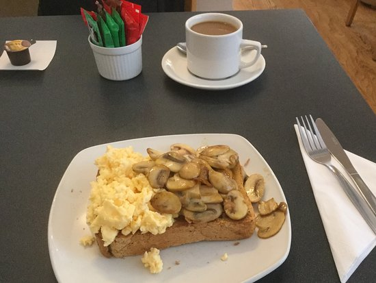 Emsworth, UK: Scrambled eggs and mushrooms on toast.