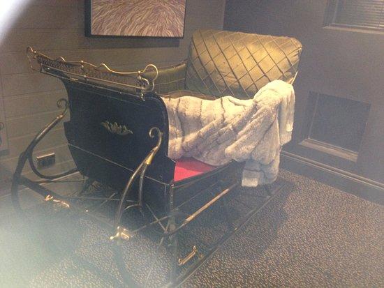Crackenback, Australia: Antique sled near foyer