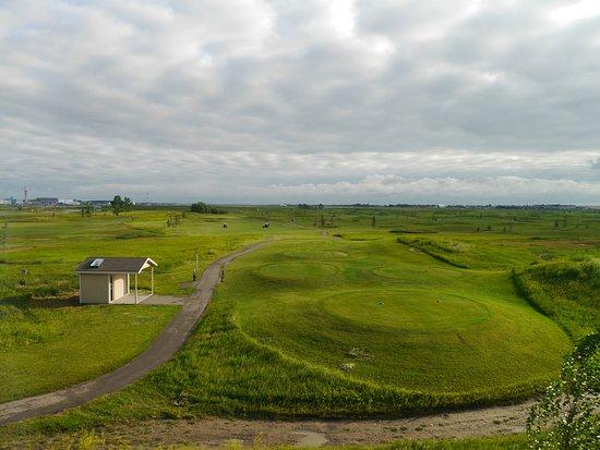 Residence Inn Calgary Airport: Blick aus unserem Zimmer, Golfplatz, dahinter Landebahn