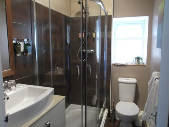The Clontarf Hotel: Bathroom with large shower cubicle and good powerful shower in Room 1 (Peony)