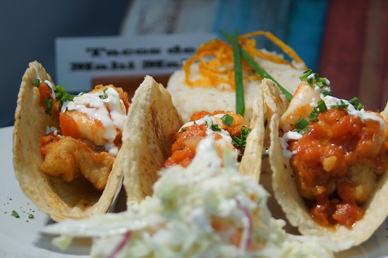 Neenah, WI: Mahi Mahi Tacos,hand made corn tortillas stuffed with Negra model beer battered Mahi Mahi and gr