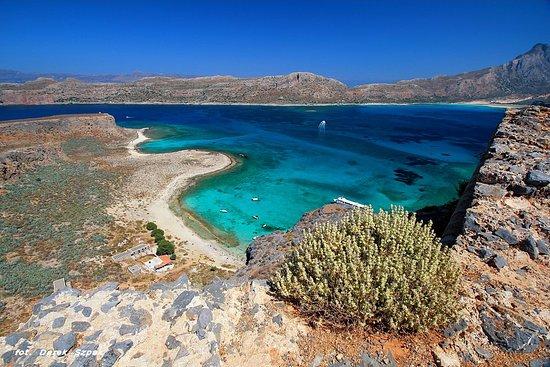 Gramvousa, Griekenland: Widok z Twierdzy na Zatoke z wrakiem
