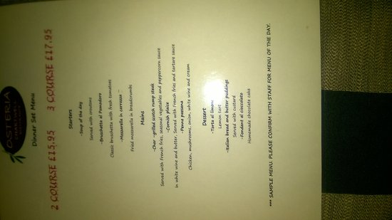 Dunton Green, UK: The Sample Menu - what's the points? Give me the real menu or none at all.