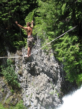 Sisters, OR: Tightrope walkers provided entertainment at Sahalie. Don't tell the forest service.