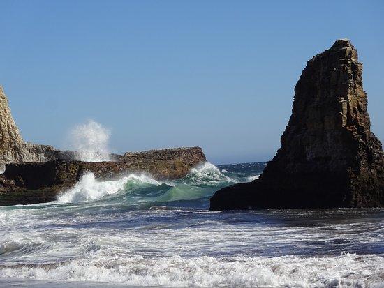 Davenport, Калифорния: Waves against the rocks.