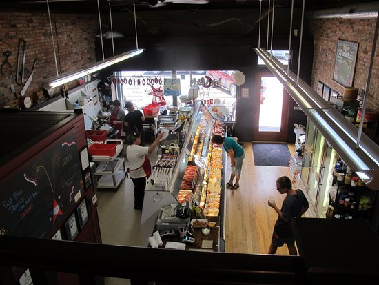 Pella, IA: View of the market from the second floor dining area