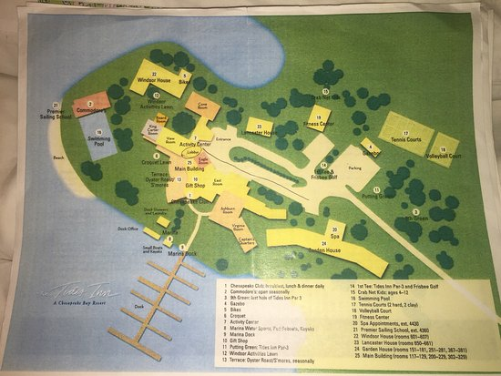 Irvington, Virginie : The Tides Inn's grounds map, activity schedule for July 2016 when we were there.