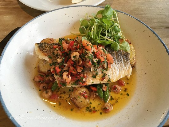 Alcester, UK: Black bream with tomato and shrimp sauce from the specials menu.