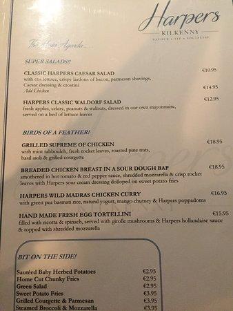 Hibernian Bar: Harpers Menu-Starters