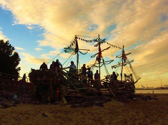 New Brighton, UK: Pirates on board The Black Pearl Pirates
