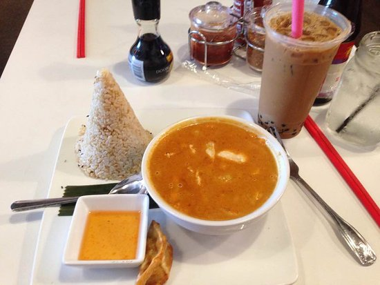 Irving, TX: Mussaman curry chicken with brown rice and Vietnamse iced coffee