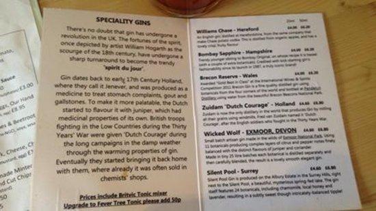 Cullompton, UK: The gin list