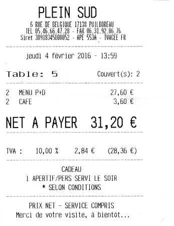 Puilboreau, Франция: Notre facture