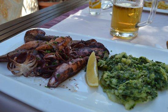 Rogoznica, Croacia: Grilled Squid with Dalmatian swiss chard