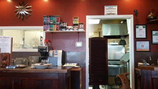 Village Pizzeria: Photo of the kitchen entrance