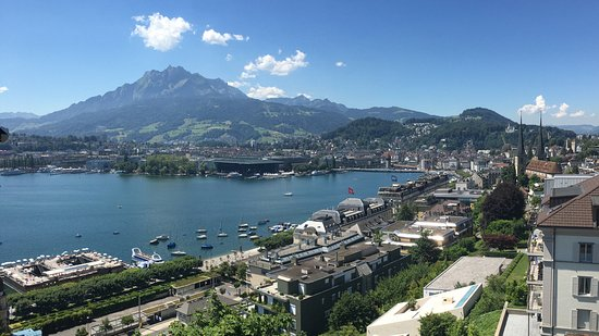 Art Deco Hotel Montana Luzern: The view from our room looking toward Mt Pilatus and the centre of Lucerne
