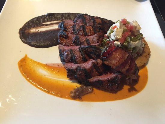 Avon, CO: Carne Asada (note the red pepper filled with cheese and wrapped in bacon)