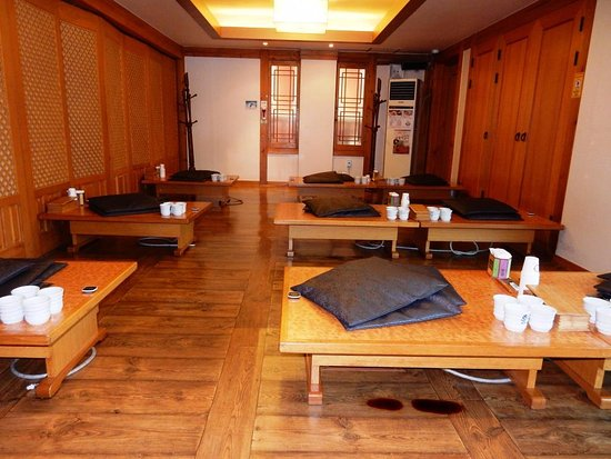Korean Style Dining Area Low Tables And Floor Mats