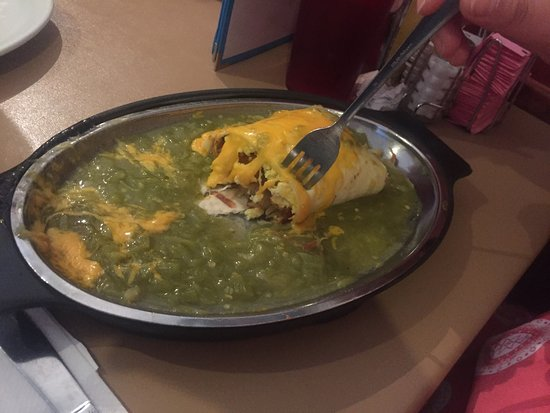TIA Sophia's: Breakfast Buritto with green chile sauce
