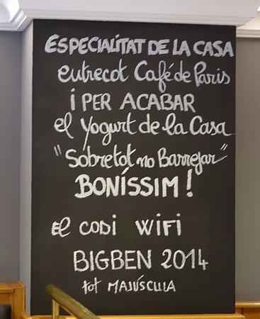 Паррокия Эскальдес-Энгордань, Андорра: Restaurant BIG-BEN. Les Escaldes, Andorra. Pizarra de propuestas.
