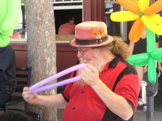 Balloon Entertainer Making Balloon Animal, Sunnyvale Farmers Market, Sunnyvale, CA