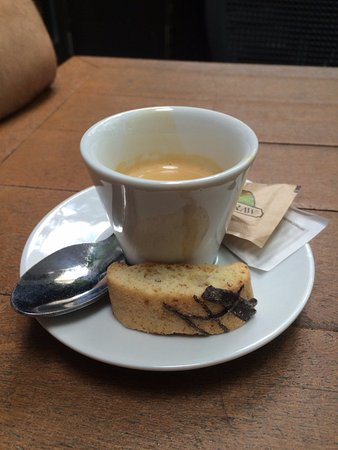 Hey Lucy Cafe: Mini biscotti served with the espresso.